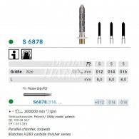 S Diamond bur FG (Parallel chamfer Torpedo) #S6878